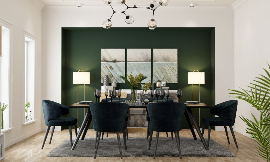 Dining room interior design in neoclassical style in green colour for Bangalore homes.