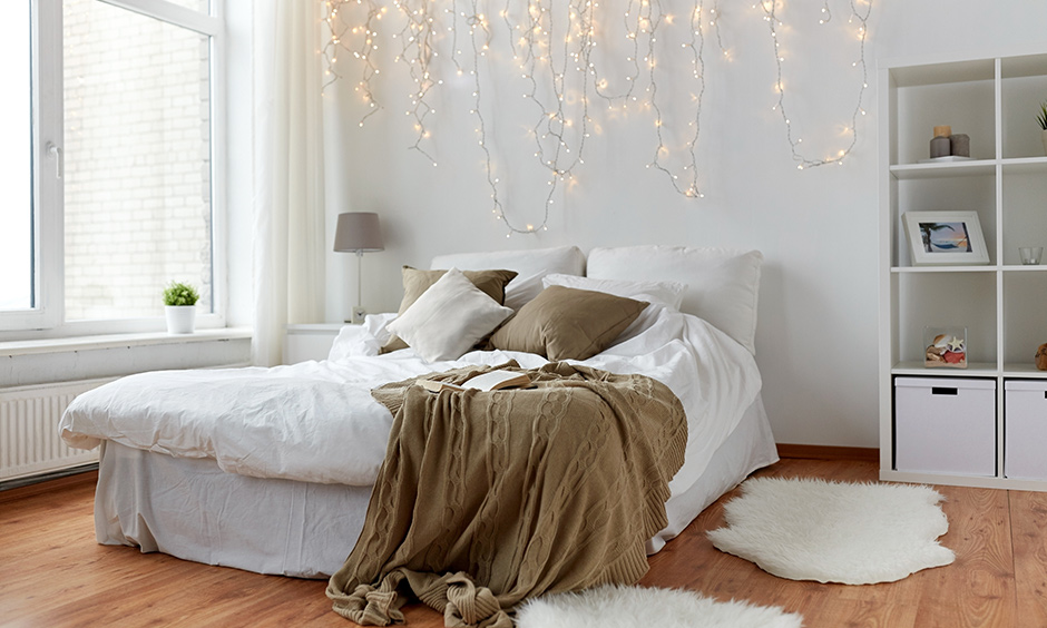 String lights look whimsical but beautiful in a cozy room.