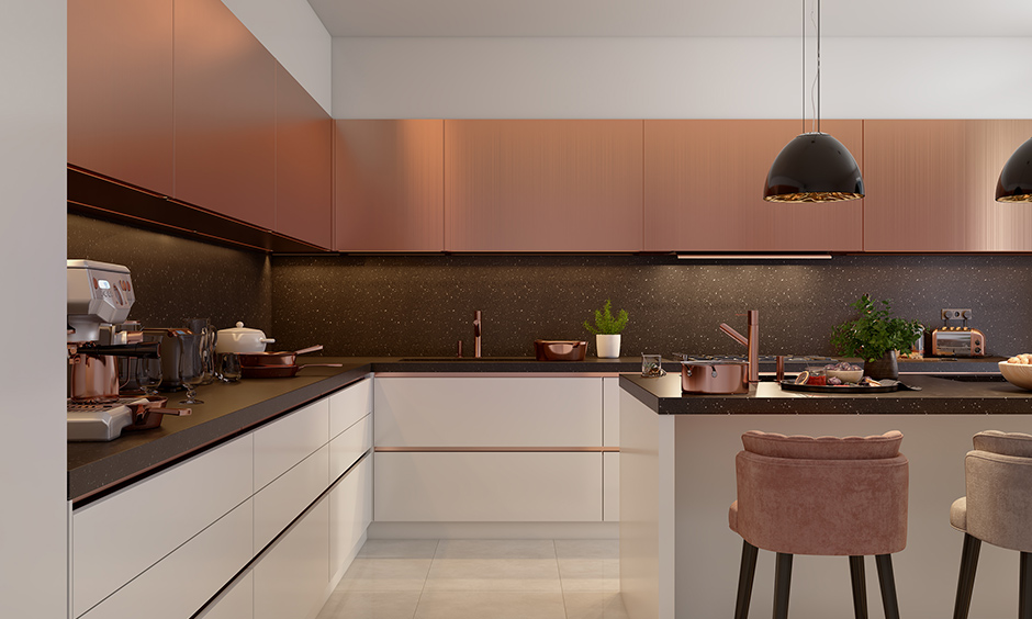 High end kitchen design trends with copper accents with lights, furniture and decor items