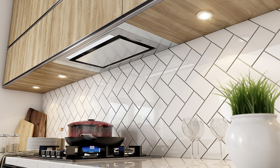 Modern kitchen design trends with concealed range hoods 2020 for kitchen accessories or the backsplash
