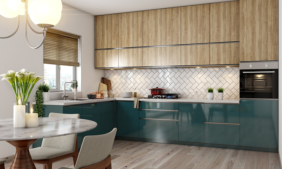 Pick two colour combination for your modular kitchen