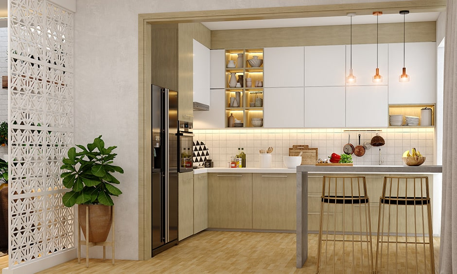 Beige, white and copper color combination make your modular kitchen look bright and inviting