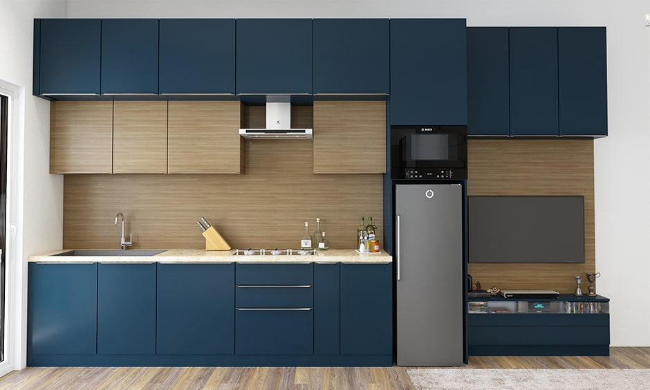 Kitchen cupboard colour combination with navy blue and browns