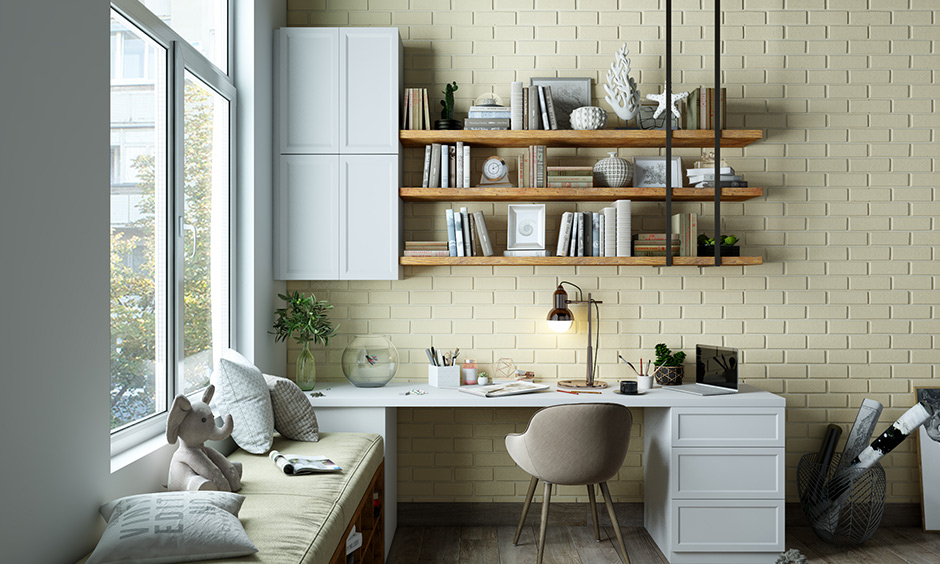 Classic cream and white are the best colour combination for the study room with soothing effect.