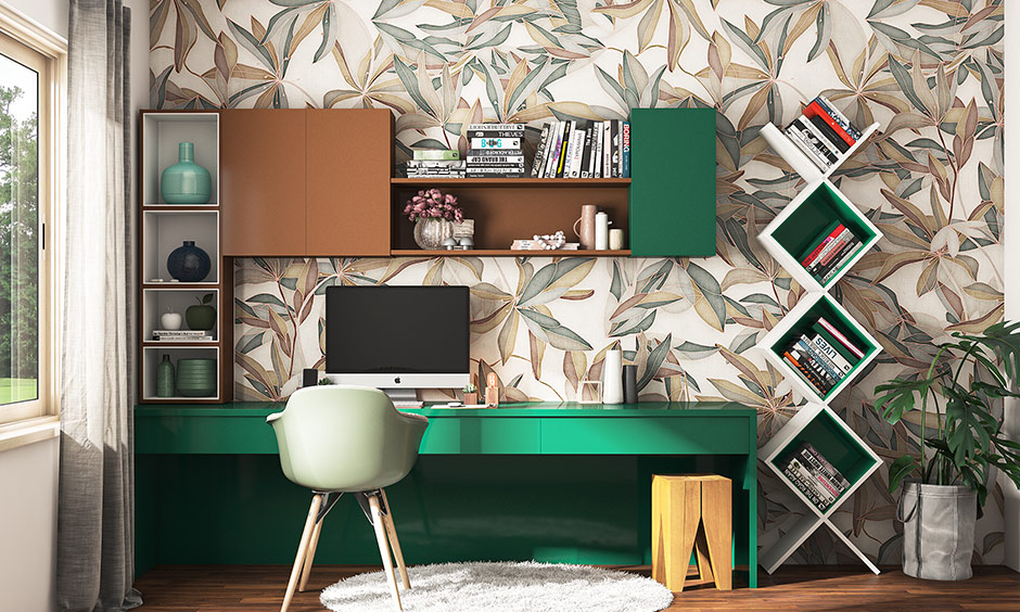 Study room painting colour with cedar green and coffee-coloured cabinets bring energetic study room color