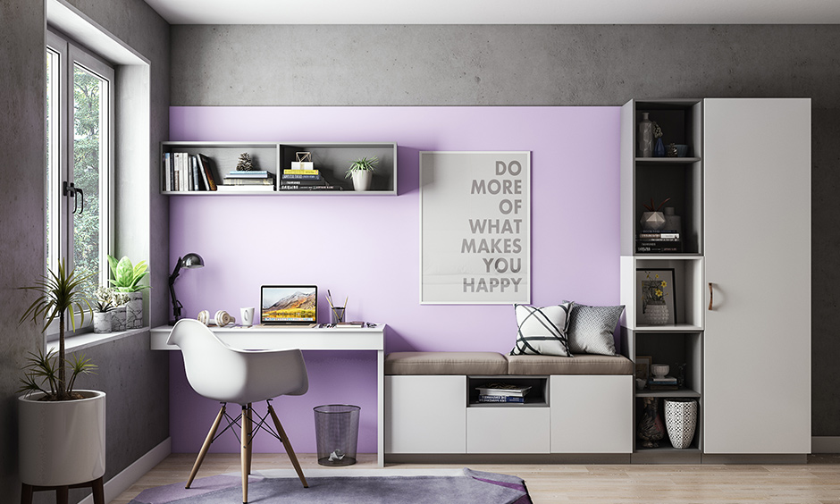 Lavender and grey color combination for study room brings in a magnificent touch to study room colour.