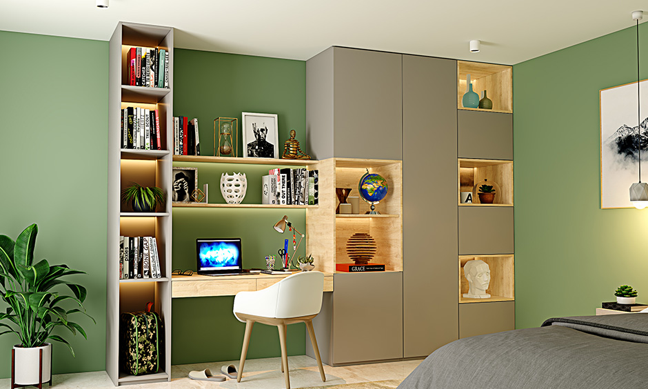 Pale green and grey study room colour that brings in the feel of nature and is known to evoke soothing.