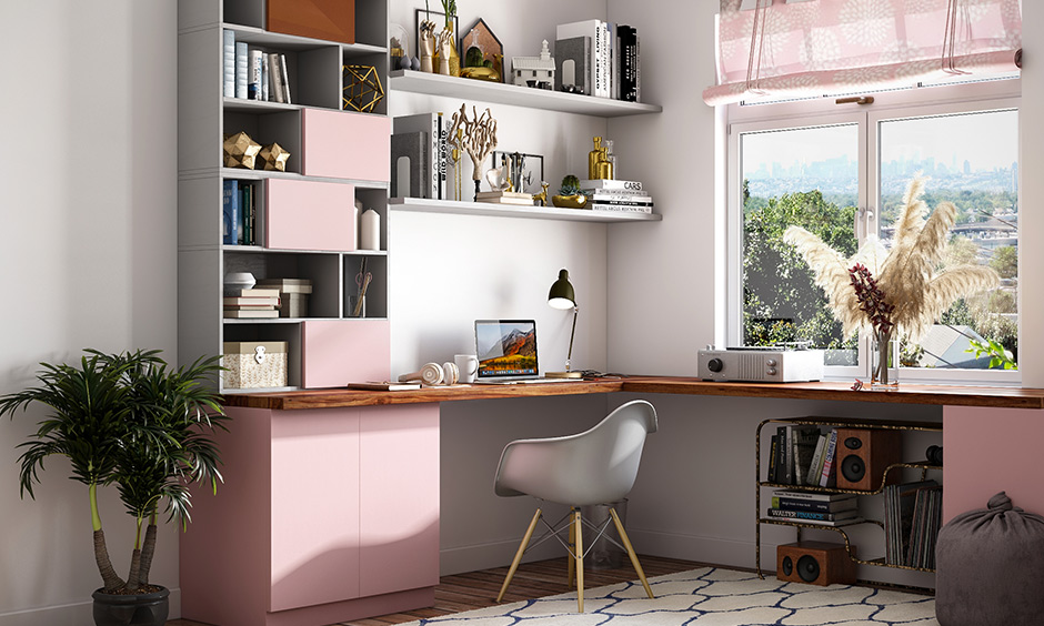 Pink and grey study room colour paint is a very feminine study room colour combination.