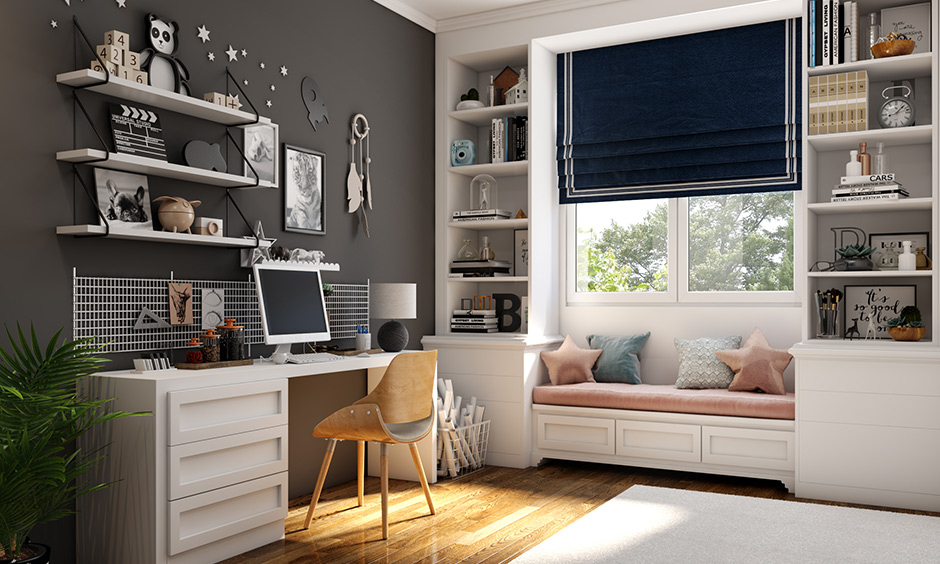 White and grey study room color combination for modern and sophisticated.