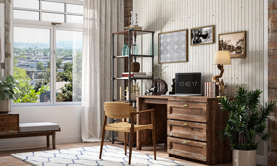 A rustic modern study room which consists of a wooden study table with storage drawers and a wooden chair