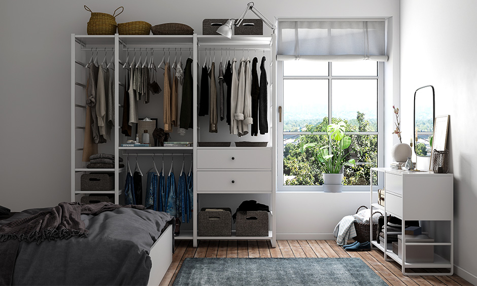 Closet organizer for your home with a clothing rack and hanger rods with a loads of space for clothes