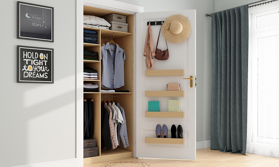 Closet organisation ideas with hooks and hangers to narrow shelves or even open boxes
