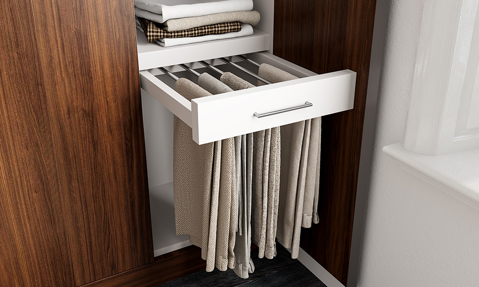 Closet organisation ideas with a trouser organiser which keep your trousers neat and wrinkle free