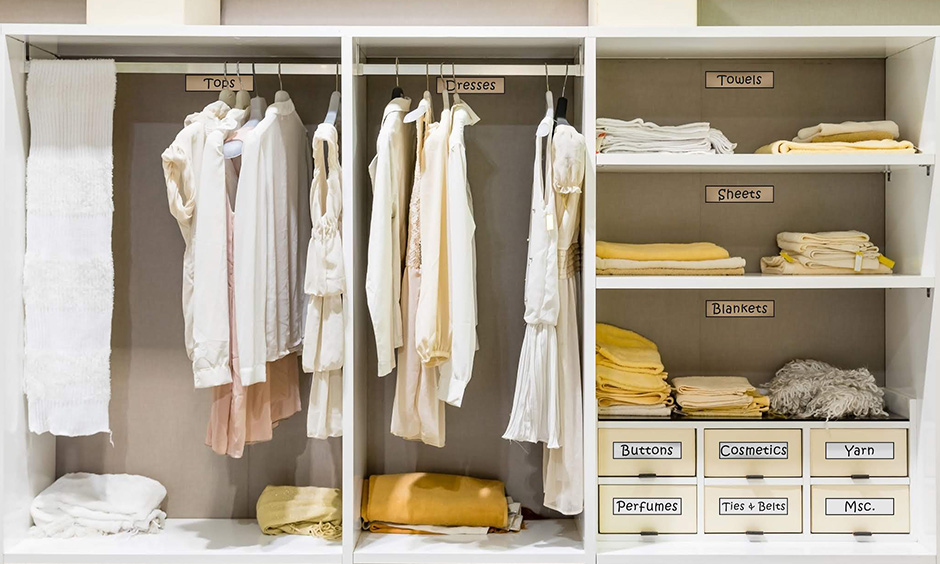 Bedroom closet organisation ideas where you can label items such as drawers, boxes, compartments