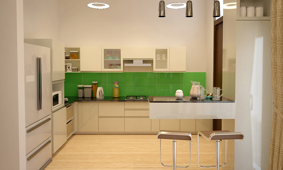 Modern kitchen design with green tiled backsplash gives a fresh look in kitchen.