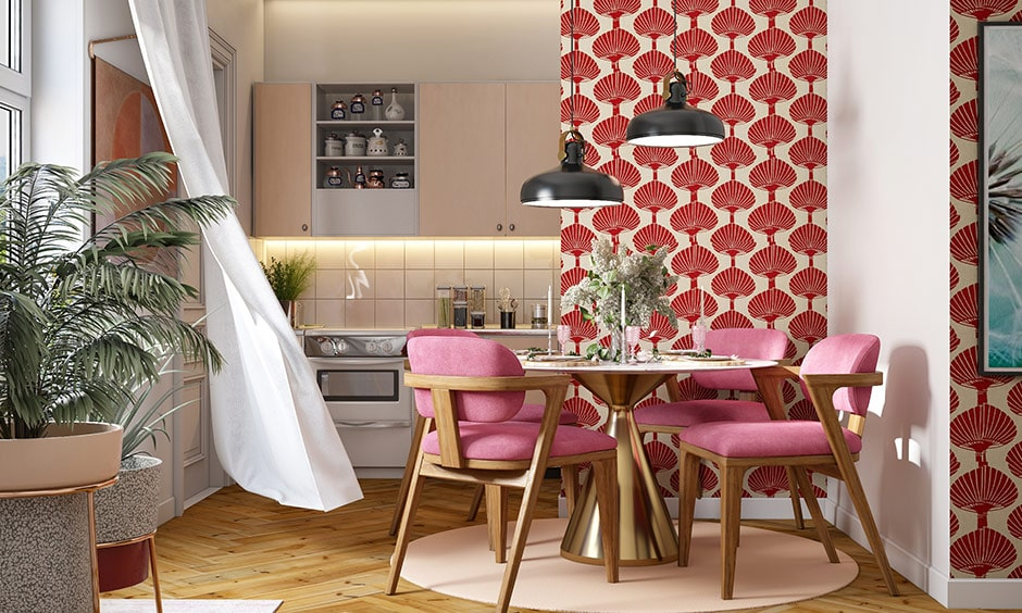 Colour combination for dining room with shades of red and white walls