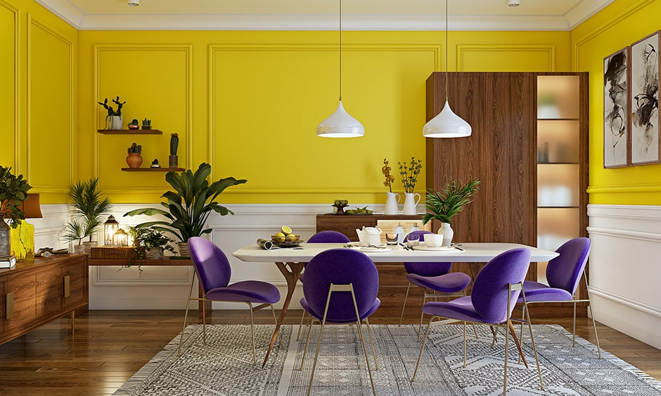 Dining room paint colors with yellow, white and purple coloured dining chairs