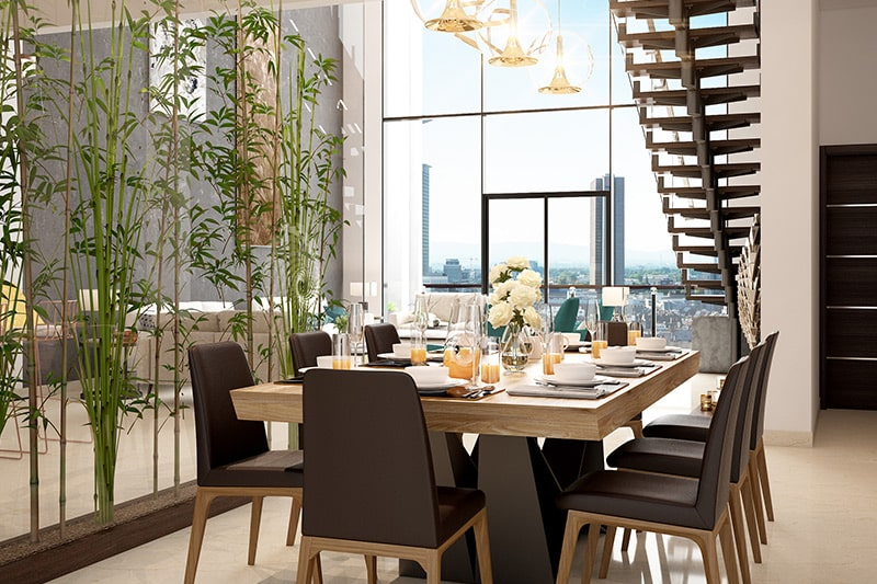 Dining room decor by adding a few unique natural bamboo plants to add texture, it is a best home decor idea