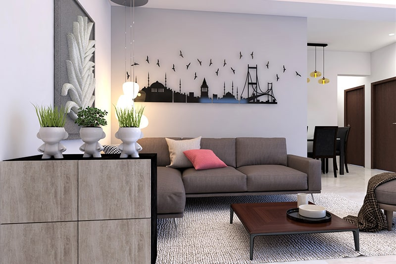 Decorate your living room wall with 3d cityscape-inspired art fixture for art lover