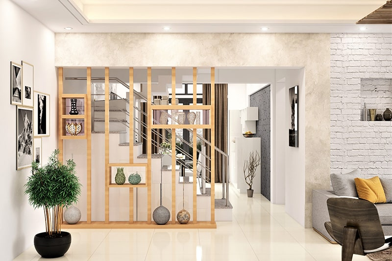 Home decoration tips by using wooden wall divider between the living room and dining room