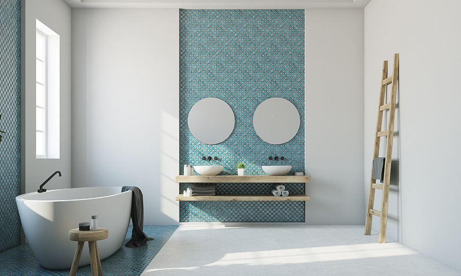 Minimalistic Master bathroom ideas consider adding a statement wall to give it a million-dollar look with minimalist design.