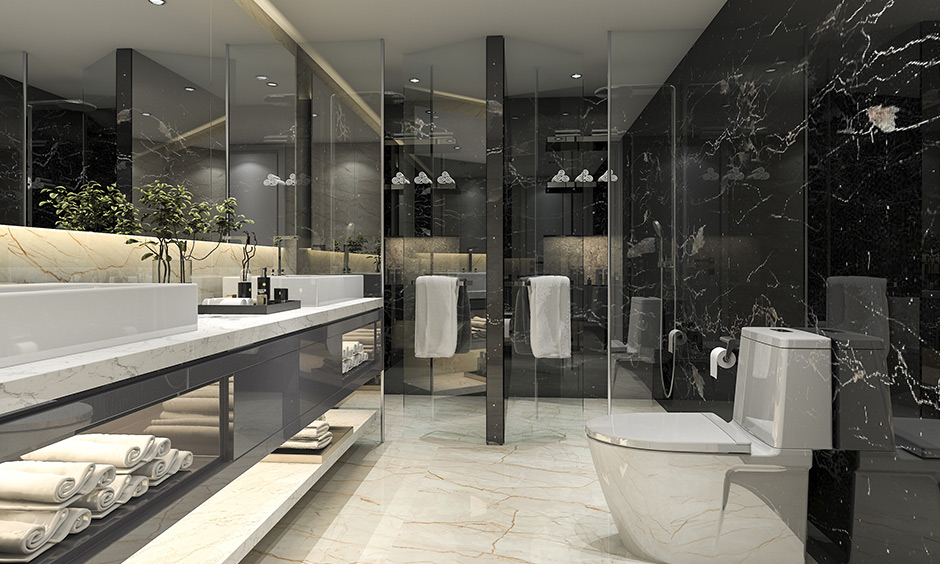 Modern master bathroom ideas add black and white veined marble, white sanitary ware and a fair amount of glass looks masterpiece.