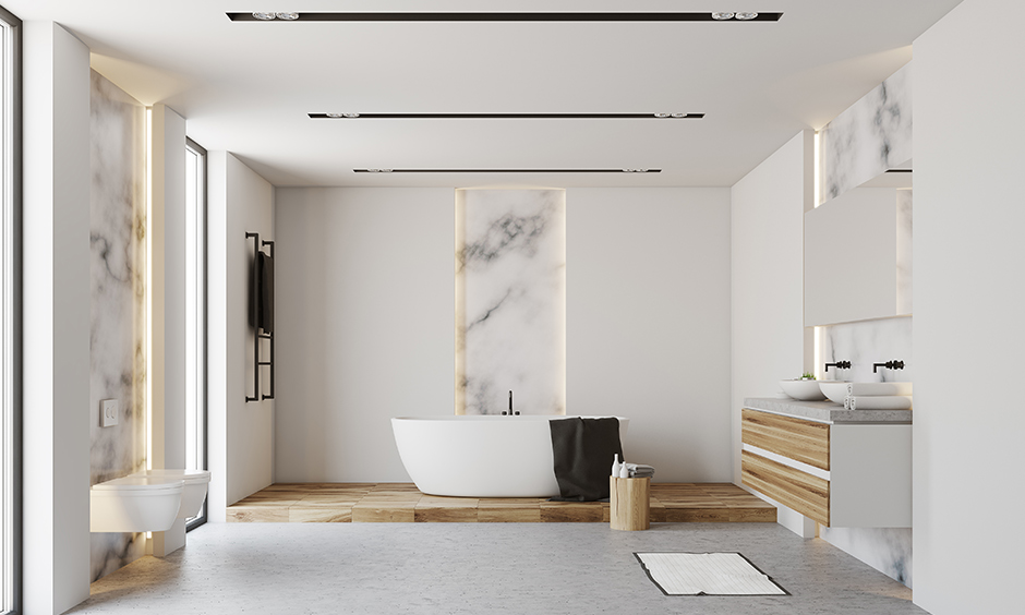 Master bathroom ideas choose Japanese zen-inspired with minimalist design and marble wall panels.