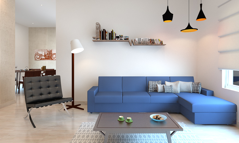small apartment living room ideas minimalist with bright colours, classic grey chair and simple coffee table