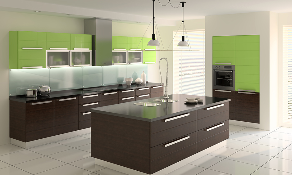 Combination of brown and green kitchen cabinets will reflect the theme of nature flawlessly.