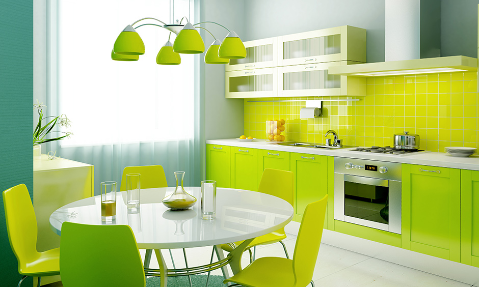 All lime green colour kitchen brings to mind feelings of youthfulness and playfulness.