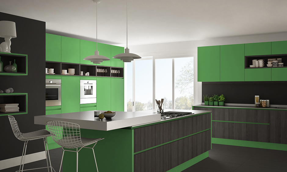 Green colour kitchen cabinets with dark grey on the walls are more likely to be attracted.