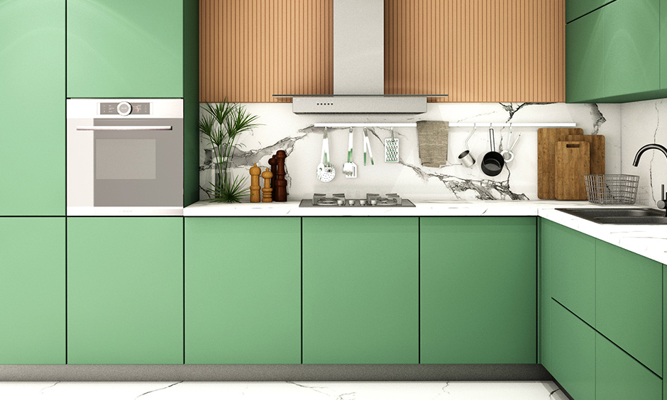 All green kitchen cabinets colour will give you some inspiration for healthy living!