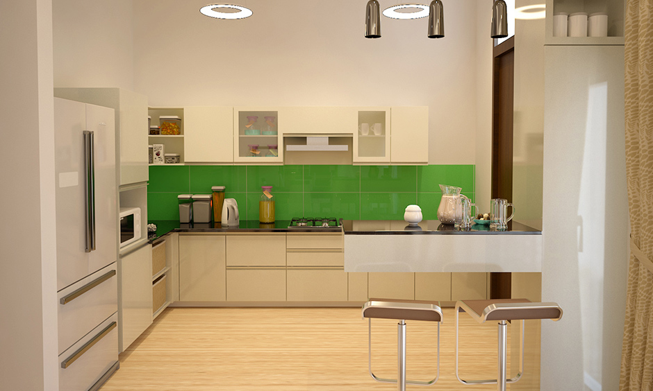 Green kitchen ideas a hint of green in white kitchen with green tiles above the countertop looks attractive.