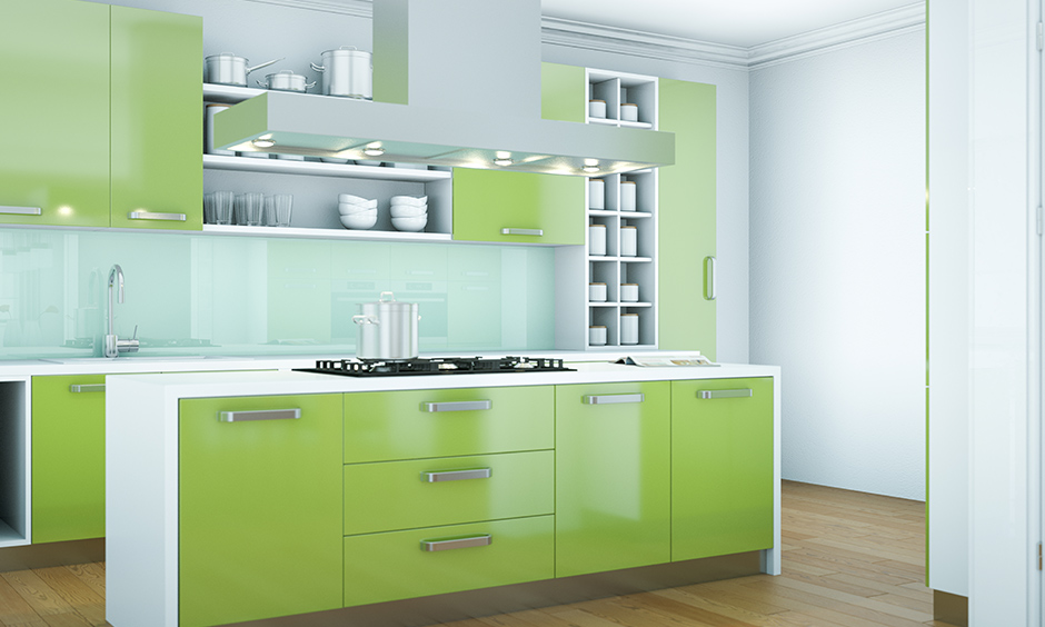 Green kitchen cabinets with a white countertop are a good idea as this colour believed to ease feelings of nervousness.