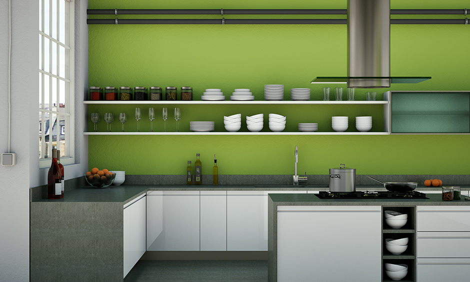 Lime green kitchen walls with light brown kitchen units and countertops will give the area an expansive feeling.