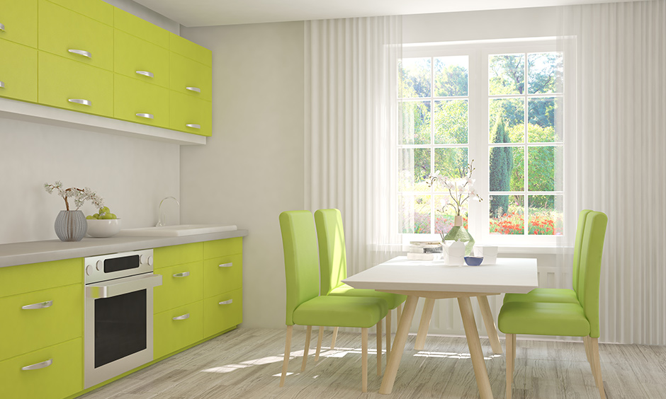 More lime green kitchen units will be like a breath of fresh air and encourage productivity.