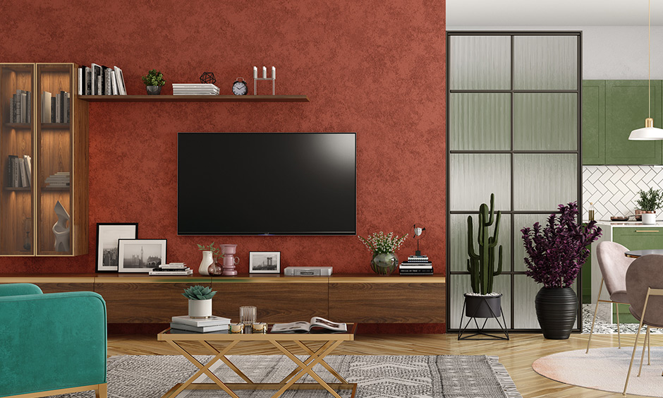 An entertainment unit in the living room gives relaxation from lockdown.