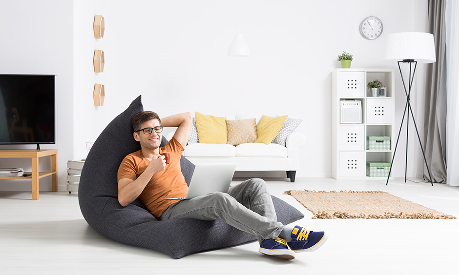 A bean bag is perfect for work, listening to music, eat and sleep, and play games.