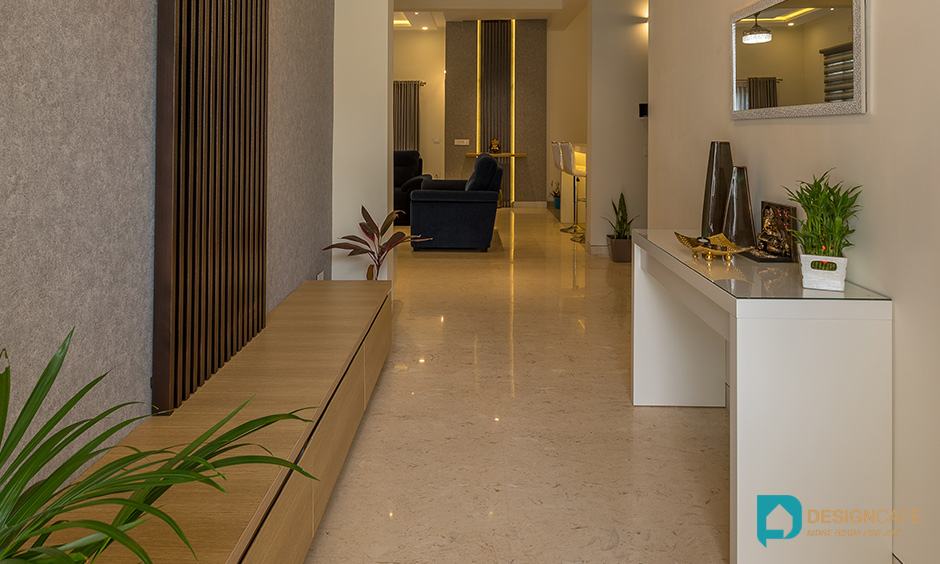 Villa house design or home design with foyer, entrance, passage way for a grand entry