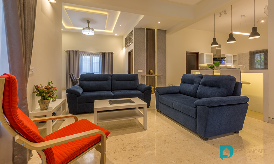 Villa interior design for a modern villa with classic luxury living room with sofas and recliners.