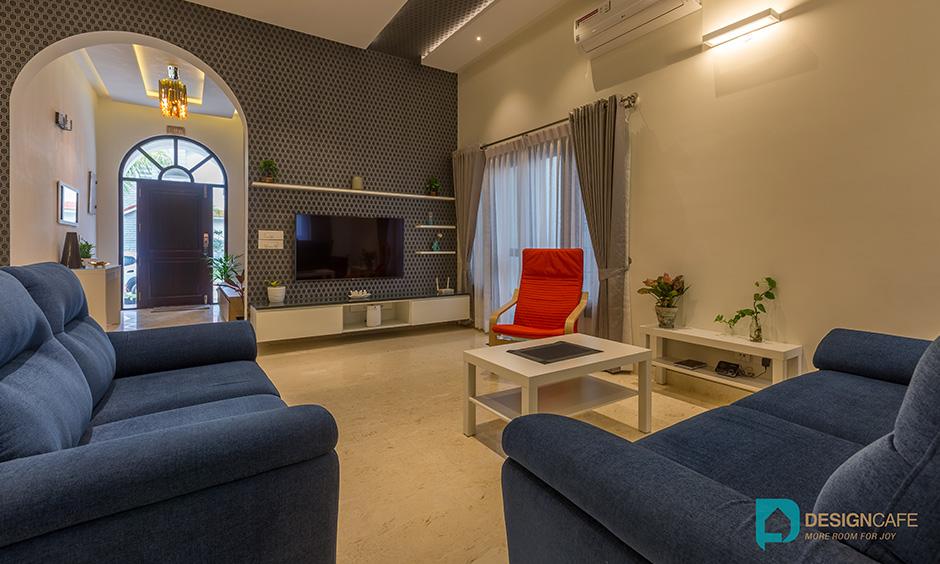 Villa living room interior design for a modern luxury villa in Bangalore.