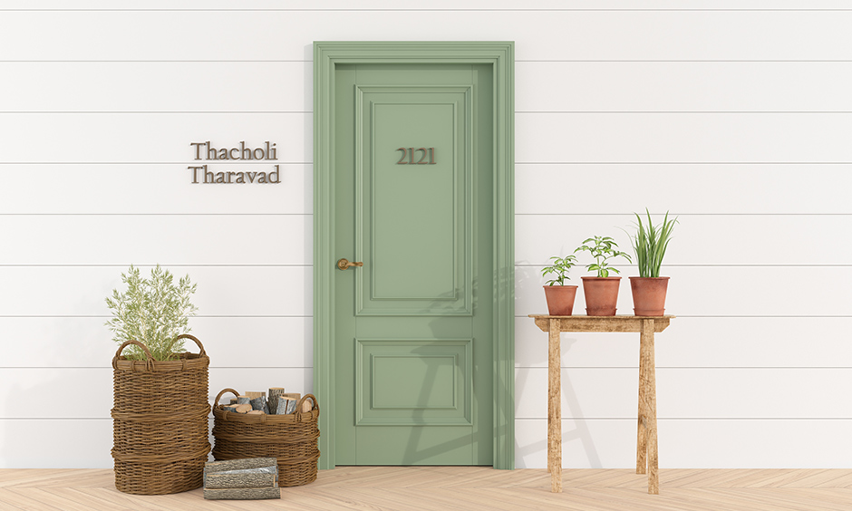 Front door paint color ideas with live green colour and contrasting tones