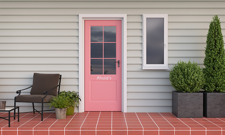 Front door paint colors with pink colour which is fresh, chic and feminine