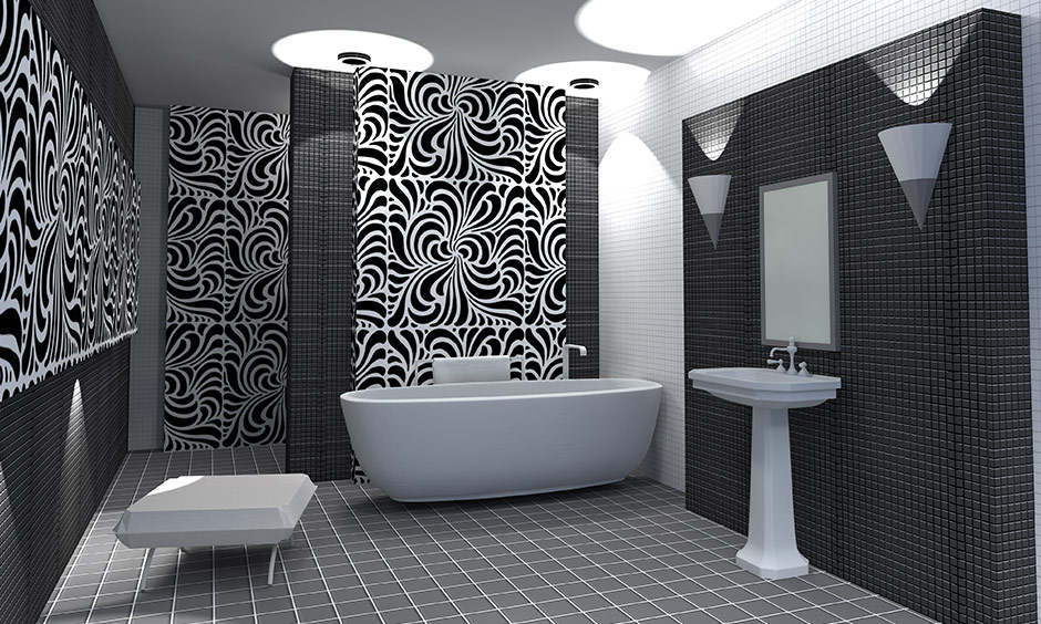 Modern black and white bathroom with black and white bathroom wall art