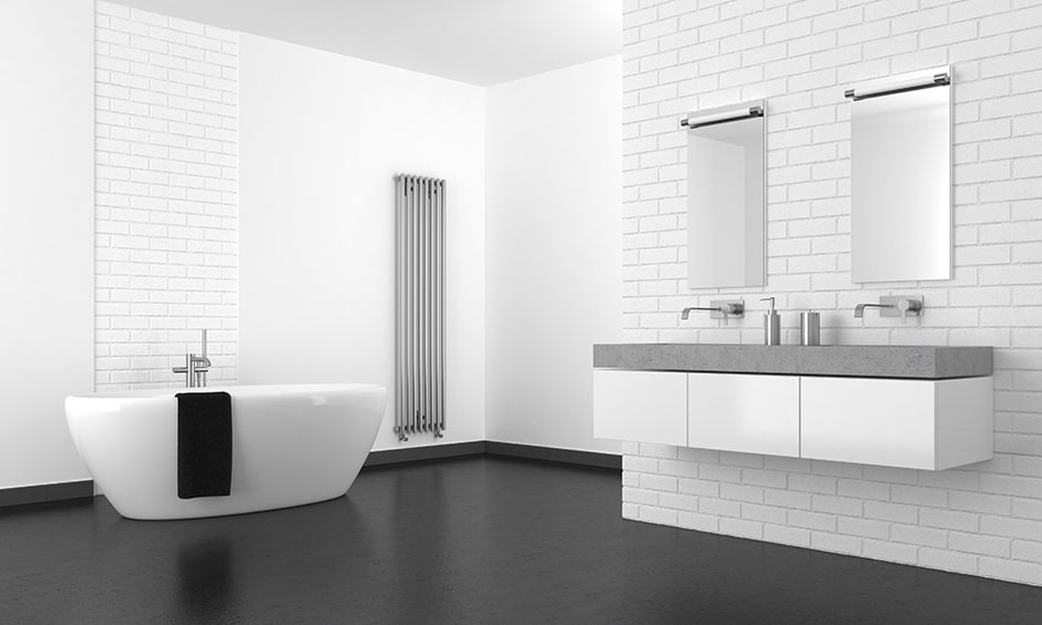 Best black and white subway tile bathroom idea with black flooring