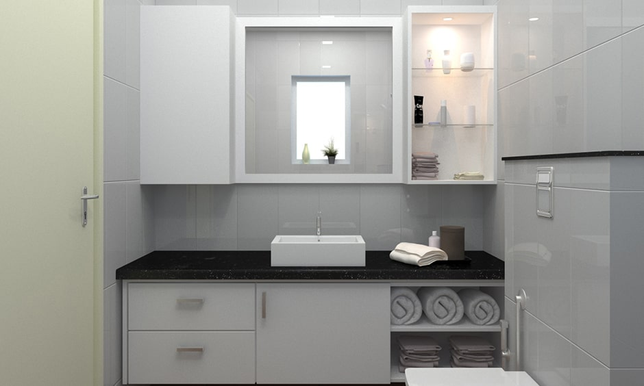Black marble top for your bathroom counter to make a black and white bathroom design