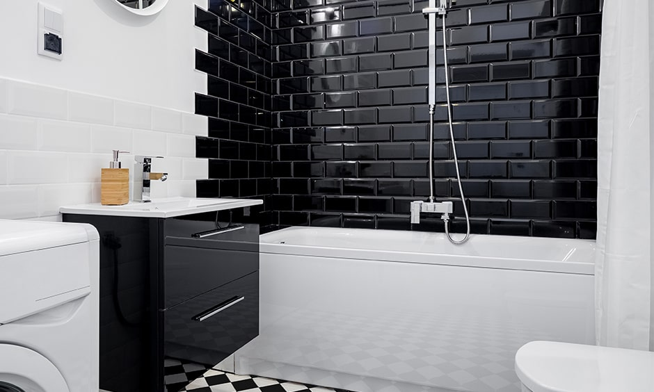Black and white bathroom design ideas with black subway tiles
