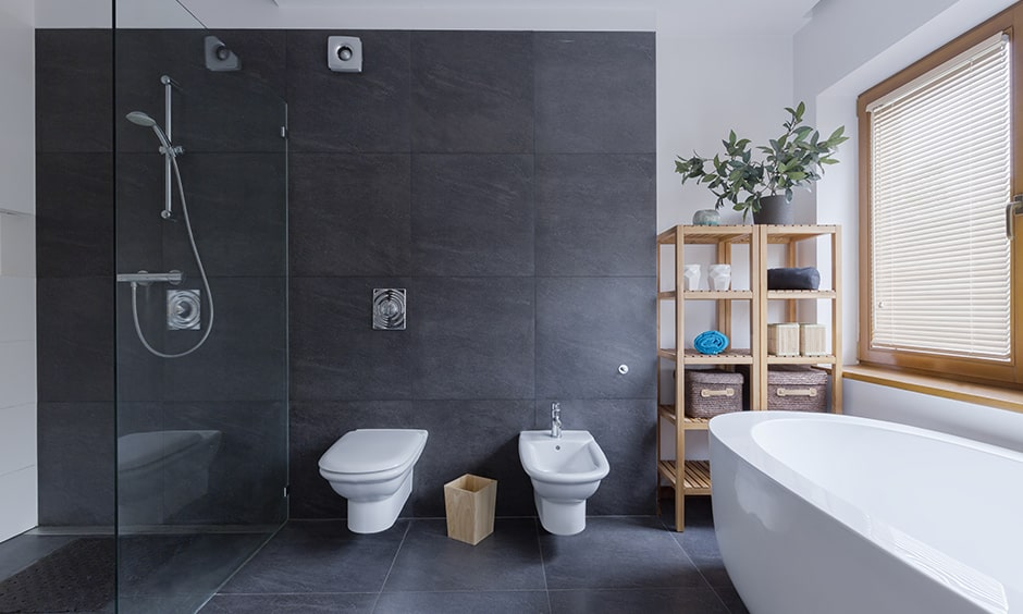 Charcoal grey bathroom design ideas with white bathroom fixtures