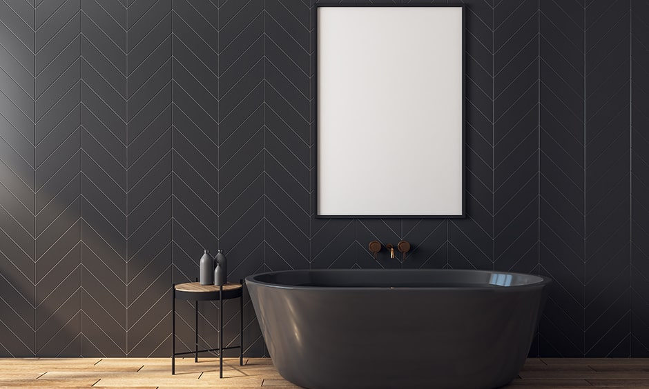 Modern black and white bathroom with the charcoal grey theme of your bathroom with vinyl flooring