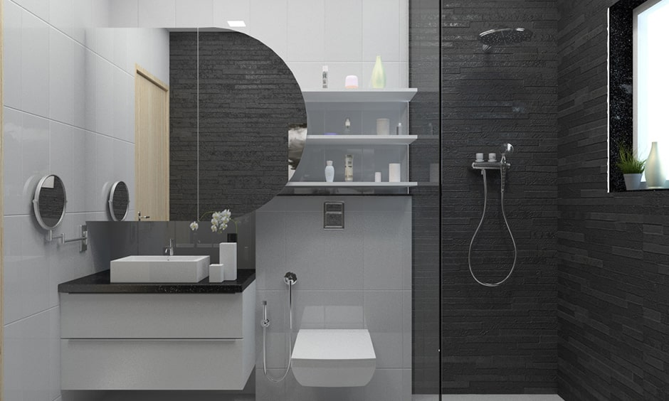 Modern black and white bathroom with charcoal shower and grey bathroom wall tiles